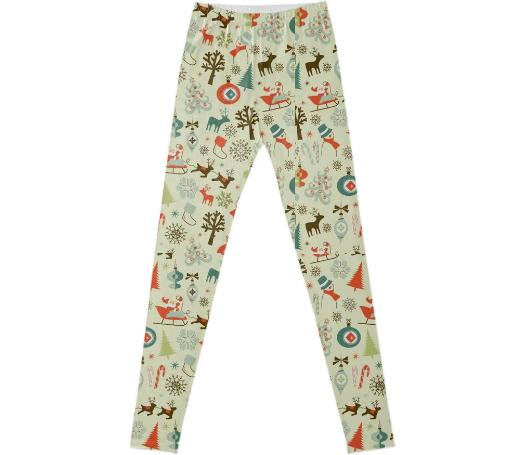 Vintage Christmas Pattern leggings