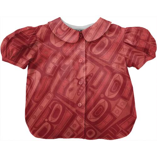 Coral red chilkat blouse