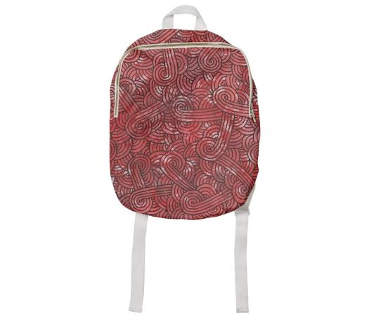 Red and black swirls doodles Kids Backpack