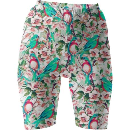 Birds Flowers Bike Shorts