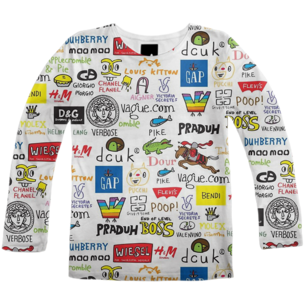 PAOM, Print All Over Me, digital print, design, fashion, style, collaboration, jon-burgerman, jon burgerman, Long Sleeve Shirt, Long-Sleeve-Shirt, LongSleeveShirt, Brand, Collection, autumn winter, unisex, Poly, Tops