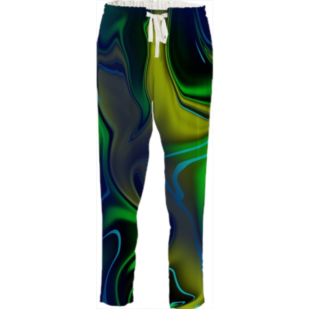 Green Blue Yellow Drawstring Pants