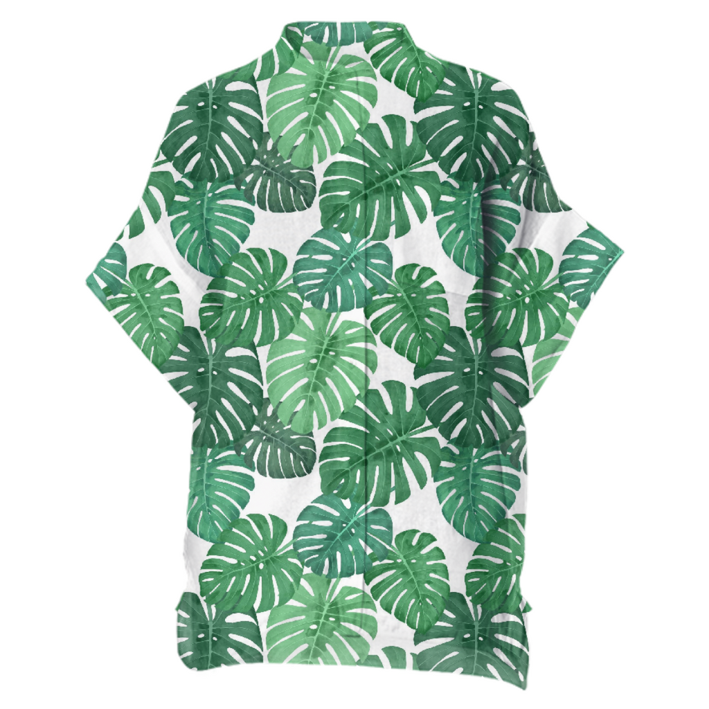 Monstera Jungle Boxy Linen Shirt by Frank-Joseph