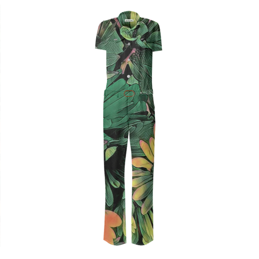 Green Blossoms Belted Jumsuit