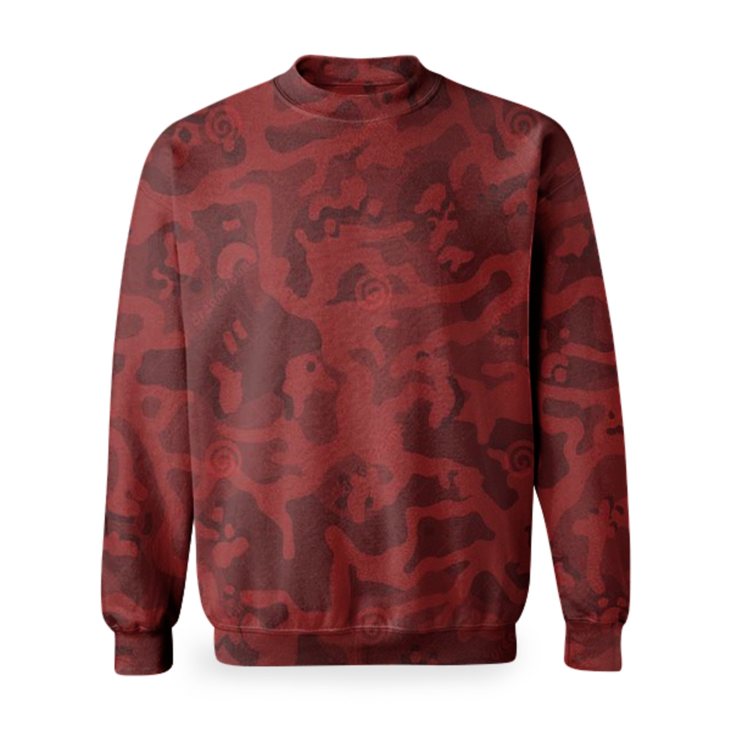 army red texture design on sweatshirt