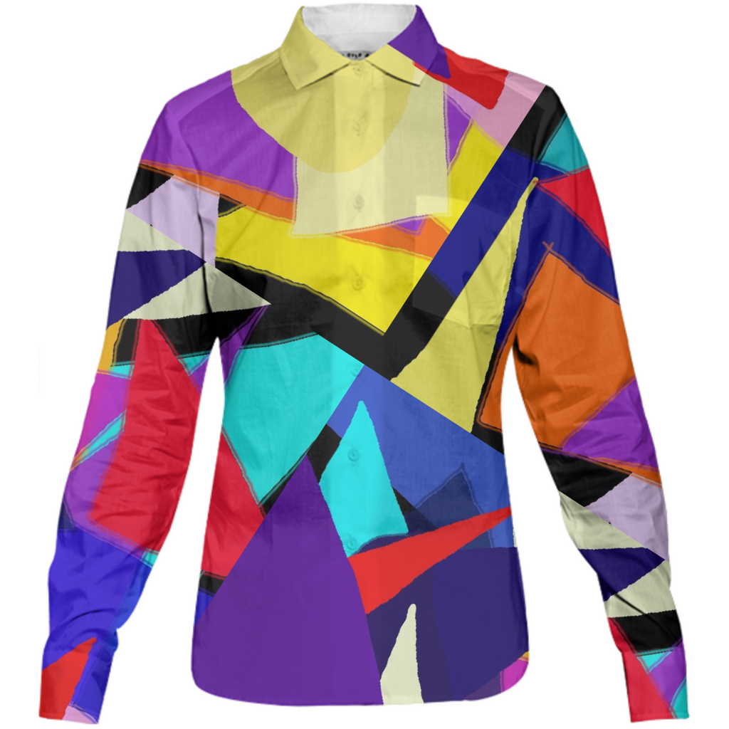 Triangles Abstract Womens Button Down