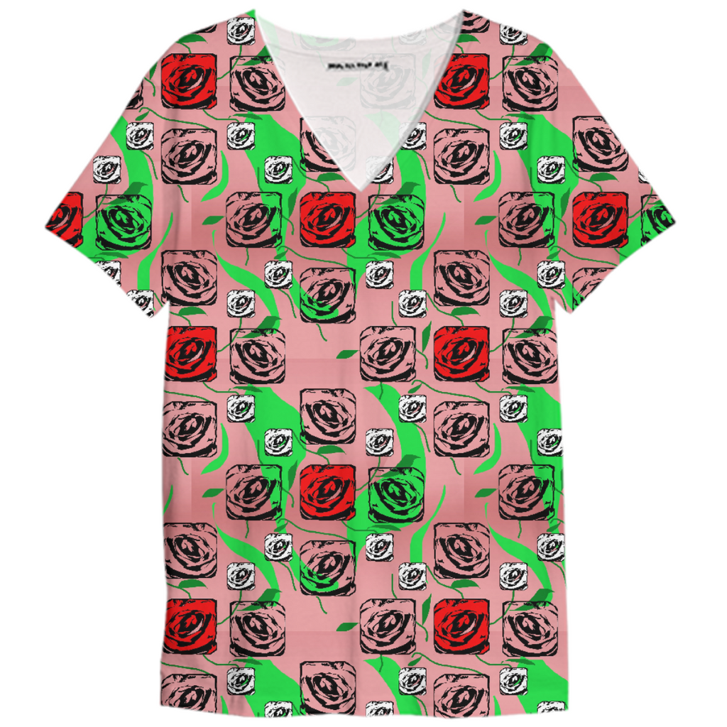 Red and White Roses Pattern on Pink V-Neck Shirt