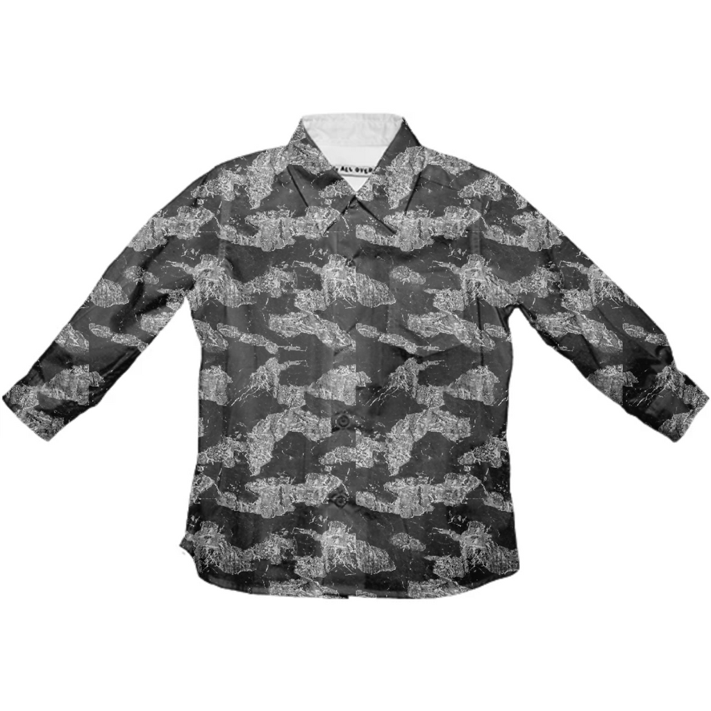 Black and White Camouflage Texture Print