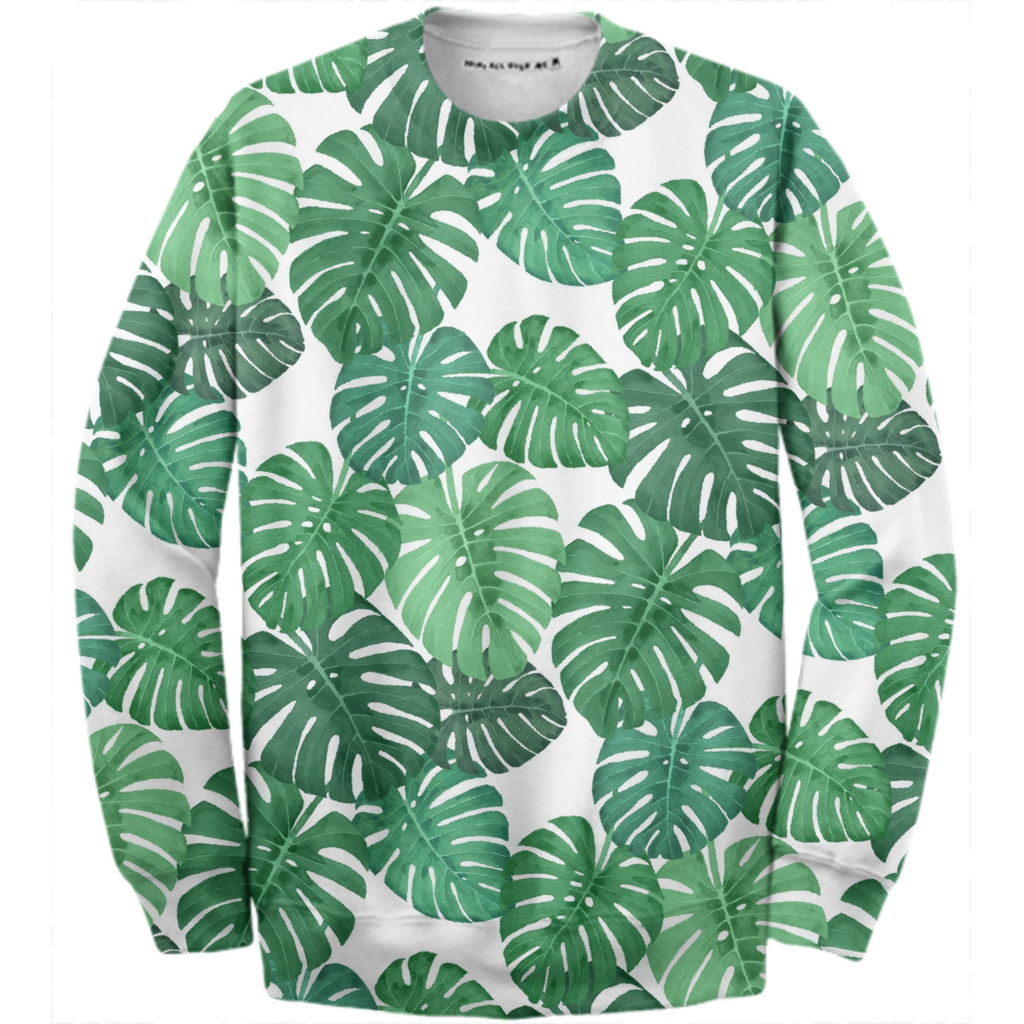 Monstera Jungle Cotton Sweatshirt by Frank-Joseph