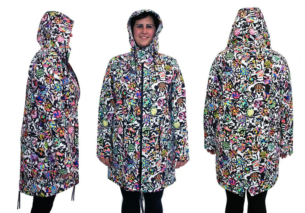PAOM, Print All Over Me, digital print, design, fashion, style, collaboration, muffybrandt, Raincoat, Raincoat, Raincoat, Adult, Dots, Warped, Checkers, spring summer, unisex, Poly, Outerwear