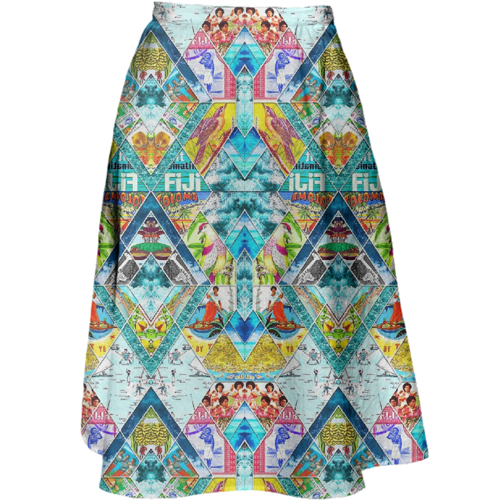 PAOM, Print All Over Me, digital print, design, fashion, style, collaboration, babyboofiji, Midi Skirt, Midi-Skirt, MidiSkirt, Travel, Fiji, spring summer, unisex, Cotton, Bottoms
