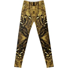 Elegant gold brown vintage fractal pattern Fancy Leggings