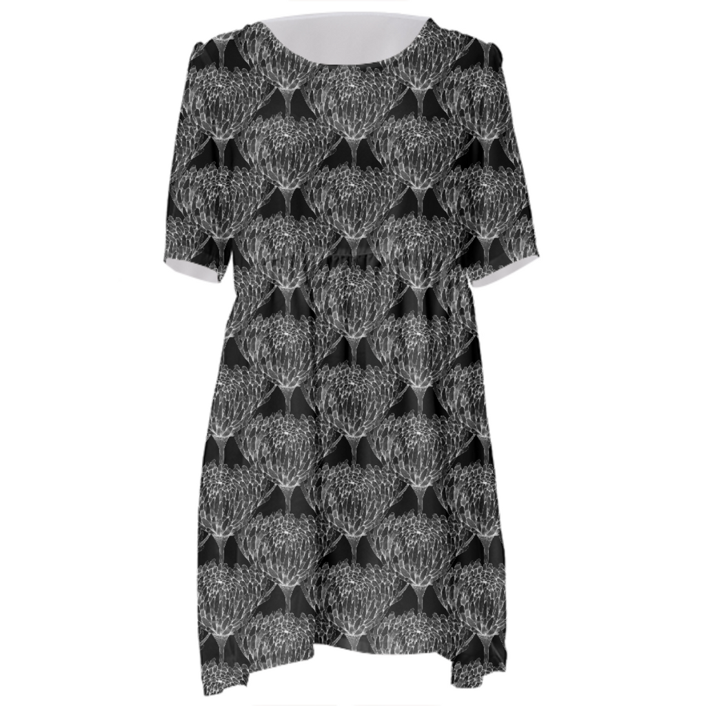 Chrysanthemum Crowd Black on black Babydoll Dress