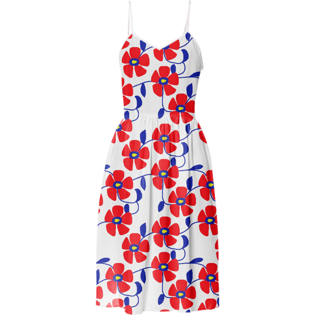 Red Flowers Blue Vines Summer Dress