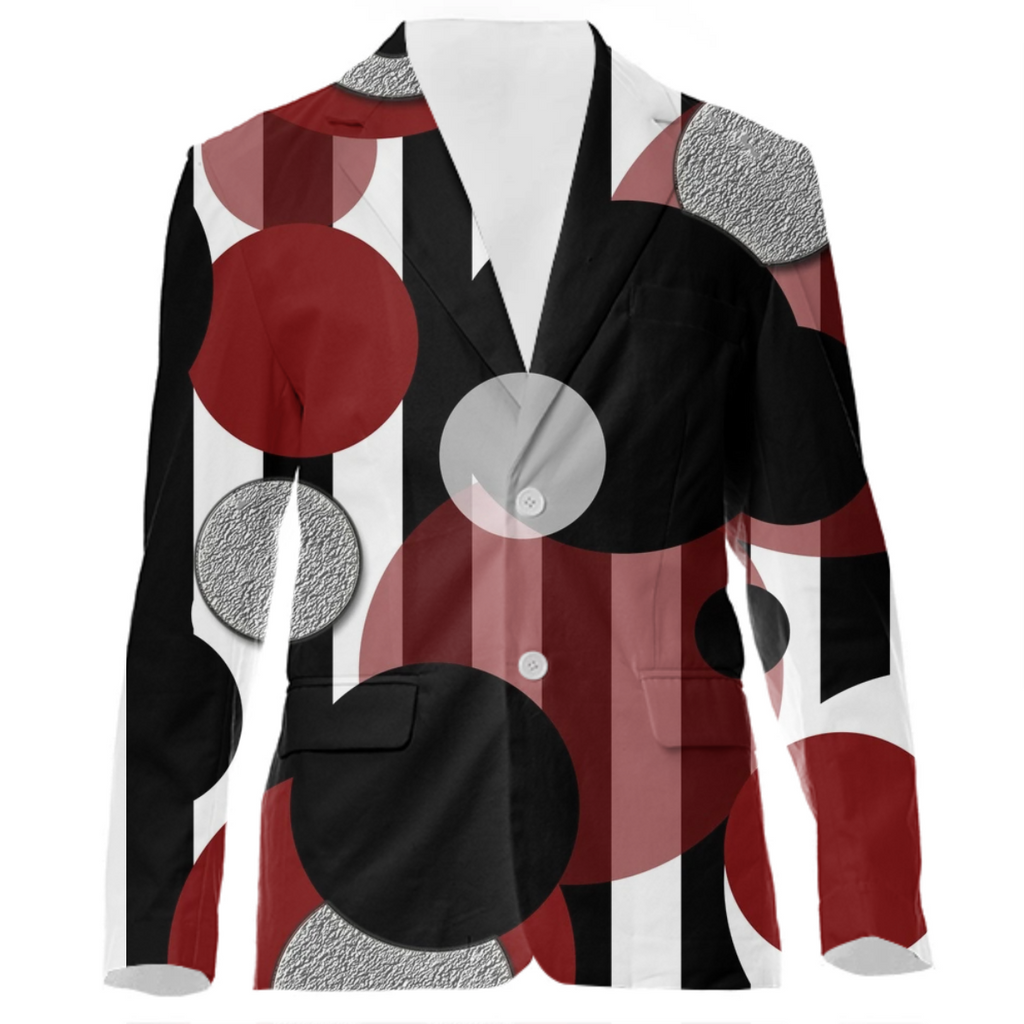 Black White Red Stripes Dots VP Suit Jacket
