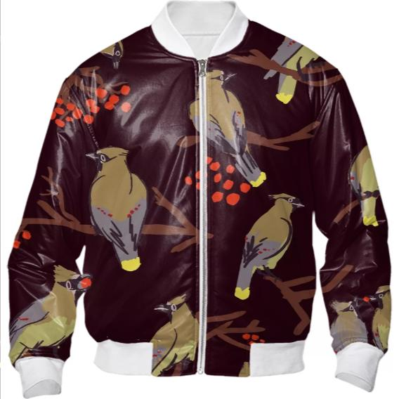 Cedar Waxwings Dark Red BomberJacket large print