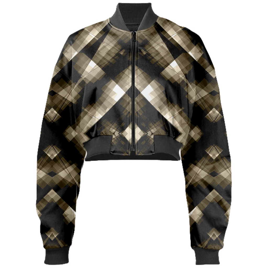Dark and Stormy Plaid Cropped Bomber Jacket