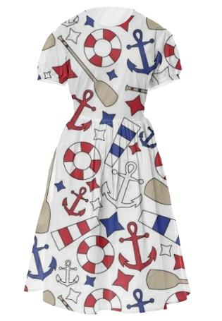 Hudson Sails Nautical Boat Pattern Dress
