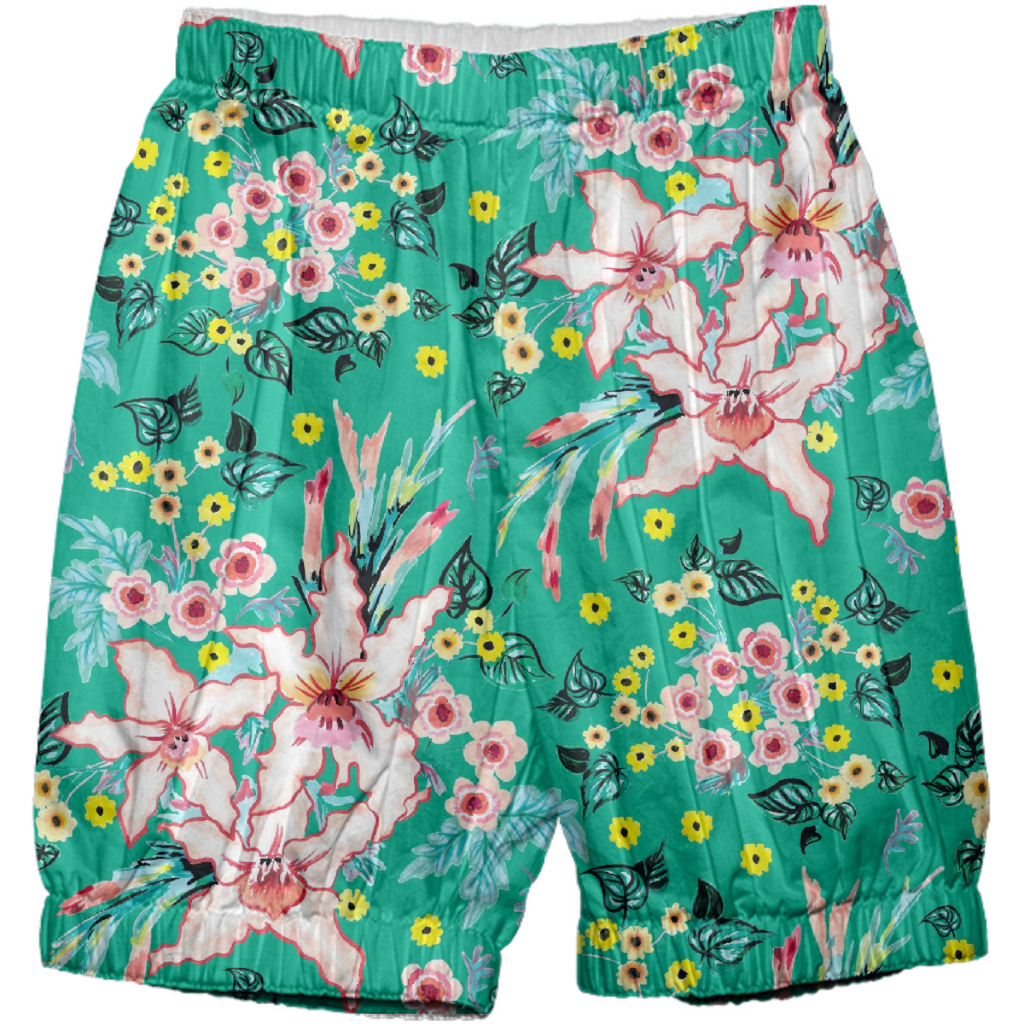 Tropical Lily pink and teal floral