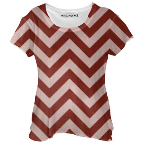 BRICK RED CHEVRON DRAPE SHIRT