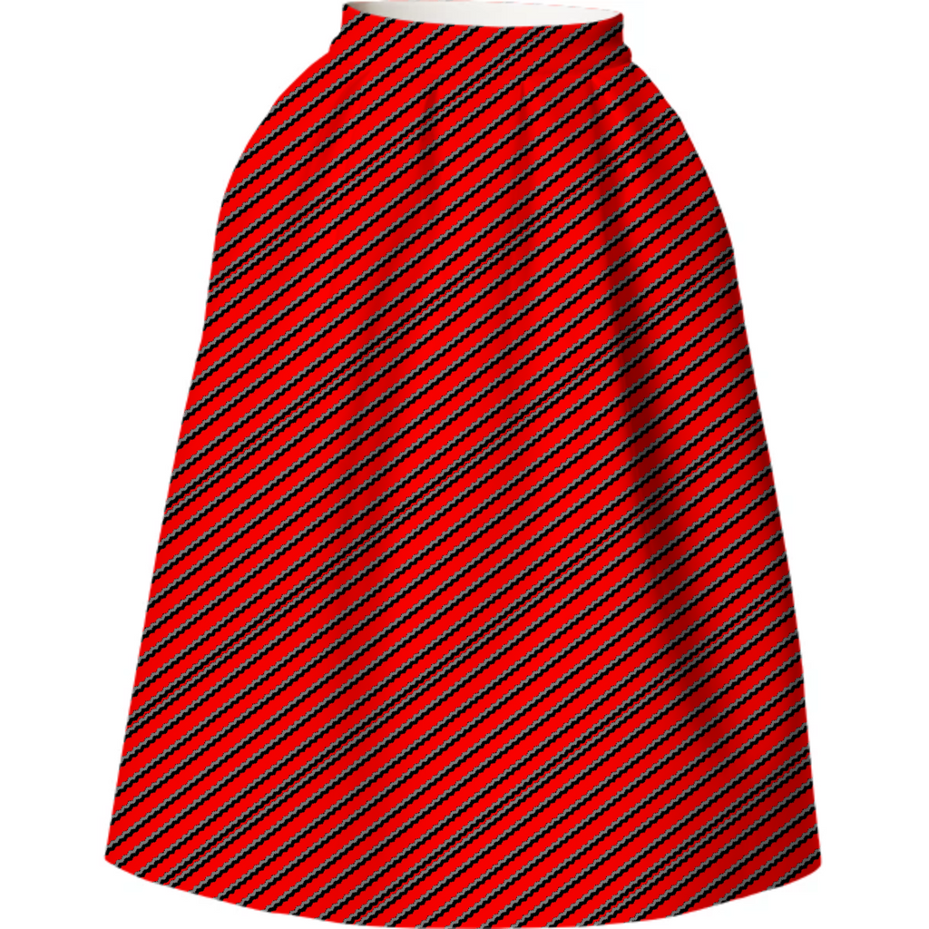 Red Geometric Neoprene Skirt
