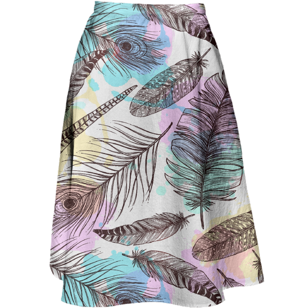 Tribal Pastels Midi Skirt