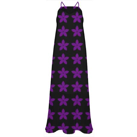 Black and Purple Floral Print Chiffon Maxi Dress