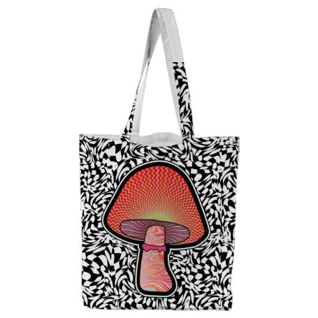 PAOM, Print All Over Me, digital print, design, fashion, style, collaboration, paomcollabs, Tote Bag, Tote-Bag, ToteBag, Red, Shroom, autumn winter spring summer, unisex, Poly, Bags