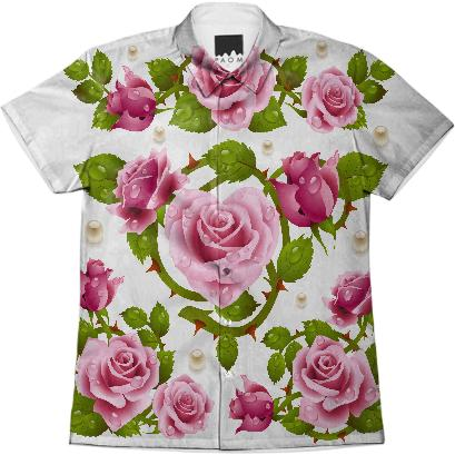 Tribal Rose Men s Shirt PINK