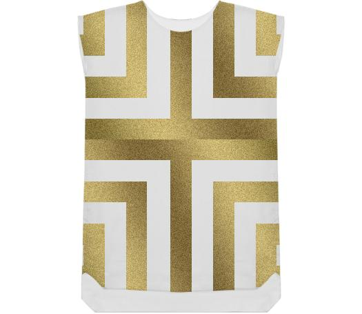 Gold Geometry Shift Dress