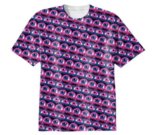 Eyeball Monsters stripe Blue Pink