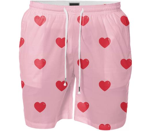 Heart Attack Swim Shorts Repeat Sml Pink