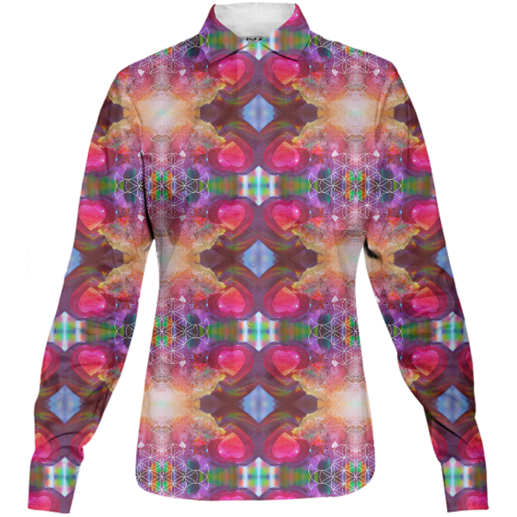 rainbow amethyst and rose quartz crystal rainbow mandala ~ button down shirt ~ design 03