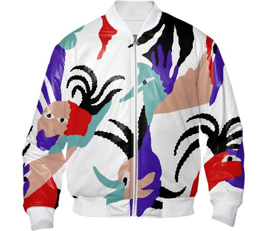 PAOM, Print All Over Me, digital print, design, fashion, style, collaboration, gambette, Bomber Jacket, Bomber-Jacket, BomberJacket, Birds, paradise, autumn winter, unisex, Nylon, Outerwear
