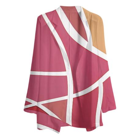 PINK AND WHITE GEOMETRIC GABRIEL HELD CHIFFON BLAZER
