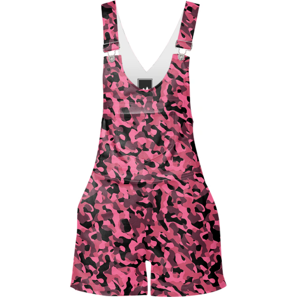 Pink and Black Camo Camouflage Pattern Shorteralls Overalls