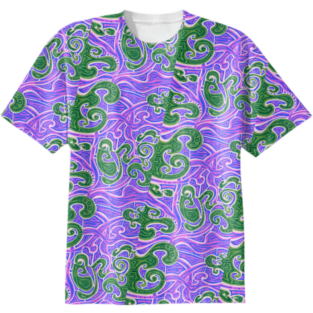 Green and purple tee