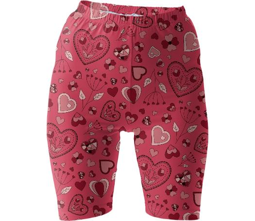 Pink flowers and hearts bike shorts
