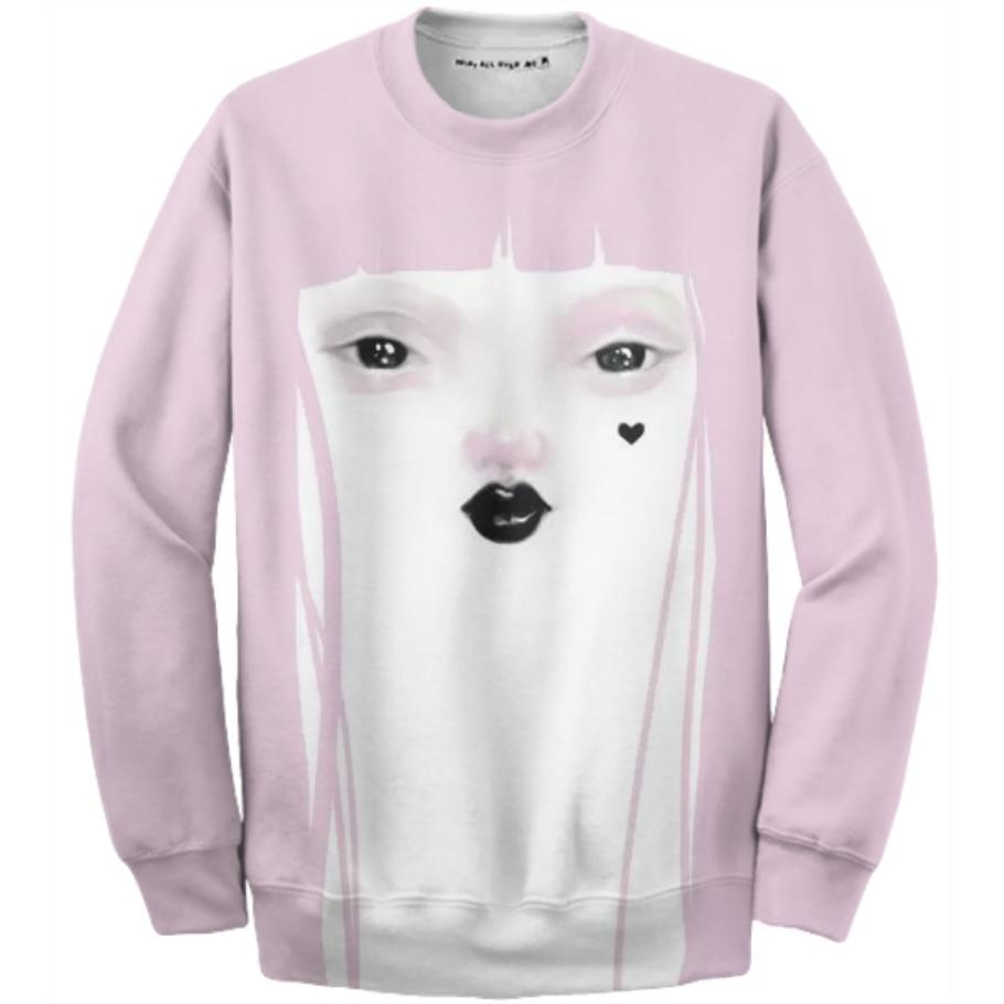 PAOM, Print All Over Me, digital print, design, fashion, style, collaboration, pidgin-doll, pidgin doll, Cotton Sweatshirt, Cotton-Sweatshirt, CottonSweatshirt, Pidgin, Doll, pink, autumn winter, unisex, Cotton, Tops