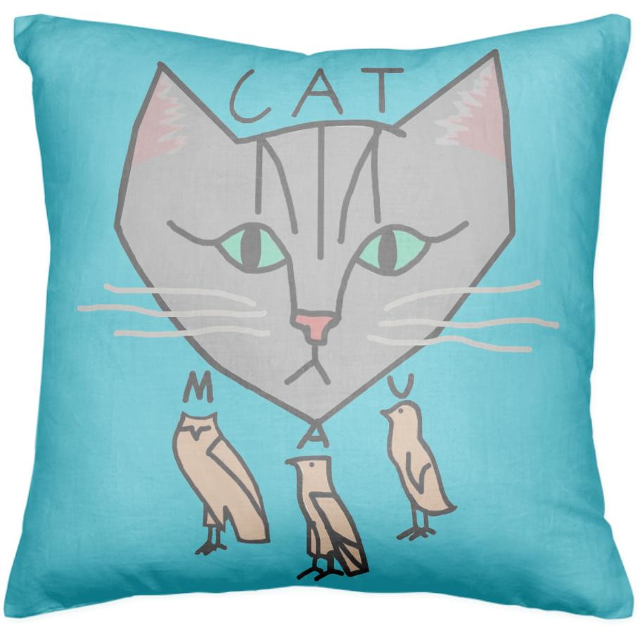 The Cat is Mau Blue Pillow
