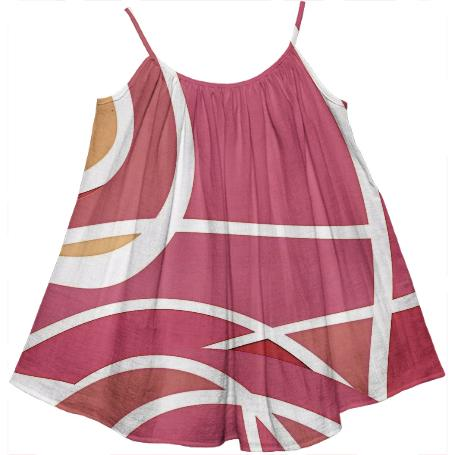 PINK AND WHITE GEOMETRIC KIDS TENT DRESS