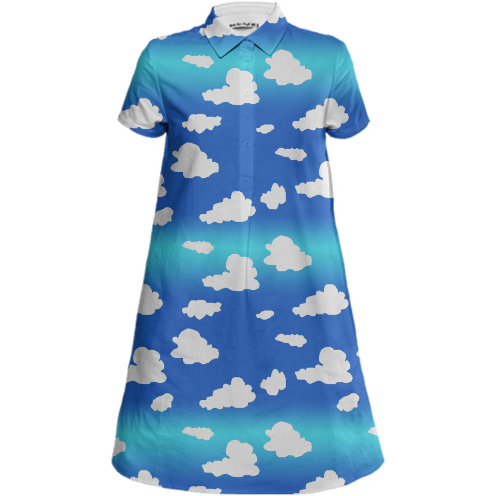 Clouds Mini Shirt Dress