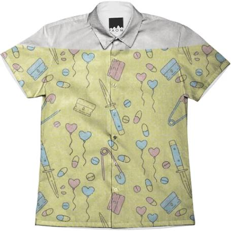 PAOM, Print All Over Me, digital print, design, fashion, style, collaboration, itsstellarose, Short Sleeve Workshirt, Short-Sleeve-Workshirt, ShortSleeveWorkshirt, Bad, Baby, Unisex, Button, spring summer, unisex, Cotton, Tops