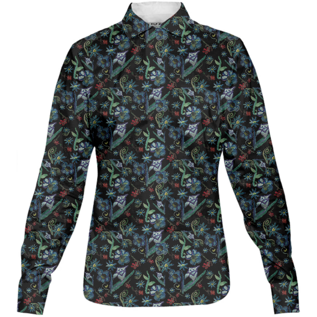 Water color Flowers On Black Womens Button Down