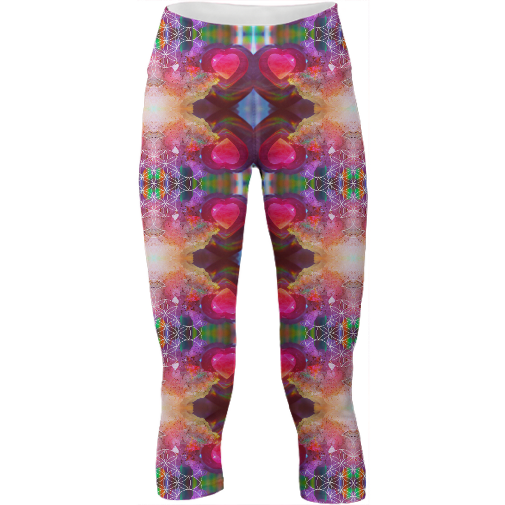 rainbow amethyst and rose quartz crystal rainbow mandala ~ yoga pants  ~ design 01