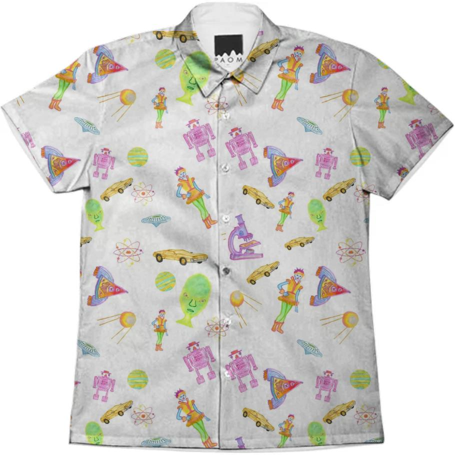 PAOM, Print All Over Me, digital print, design, fashion, style, collaboration, theselby, Short Sleeve Workshirt, Short-Sleeve-Workshirt, ShortSleeveWorkshirt, Space, the, Place, button, down, Illustrations, The, Selby, spring summer, unisex, Cotton, Tops