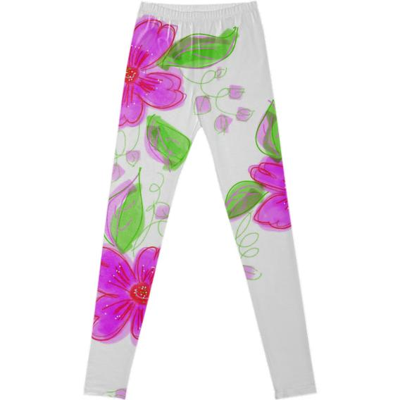 Fancy Pink Flowered Leggings