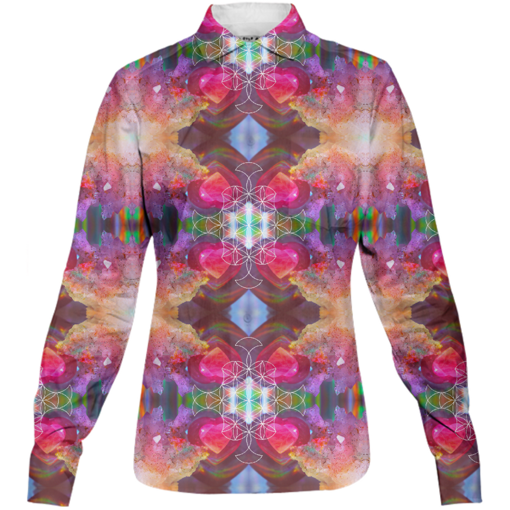 rainbow amethyst and rose quartz crystal rainbow mandala ~ button down shirt  ~ design 01
