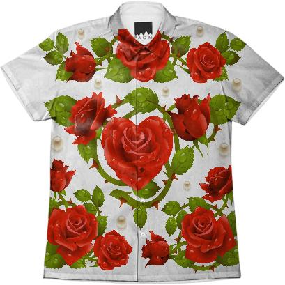 Tribal Rose Men s Shirt RED