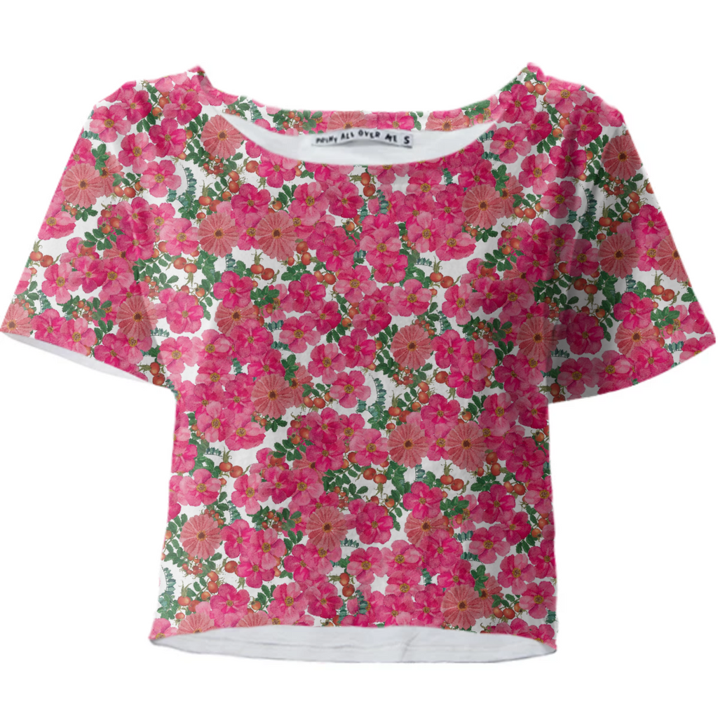 wild rose cluster white crop top